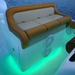 bench seat with neon lights